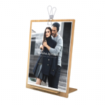 Free-Standing Light Oak Wooden Poster Holder with Spring Clip: A5 Portrait